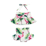 Kid Baby Girl Swimsuit Bikini Bathing Suit Flamingo Floral Tankini Bikini Set Swimwear Swimsuit Bathing Suit