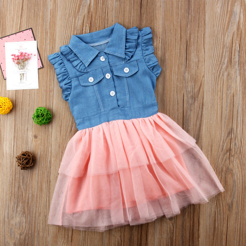 b43899e94 Princess Summer Toddler Kids Baby Girls Denim Lace Country Dress ...