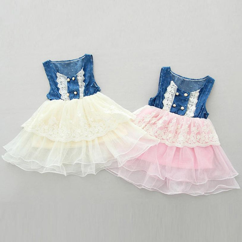Child Kids Girls Casual Lace Dress Denim Splice Layered Tulle Vest Party Dress Pageant Cowgirl Barn Party
