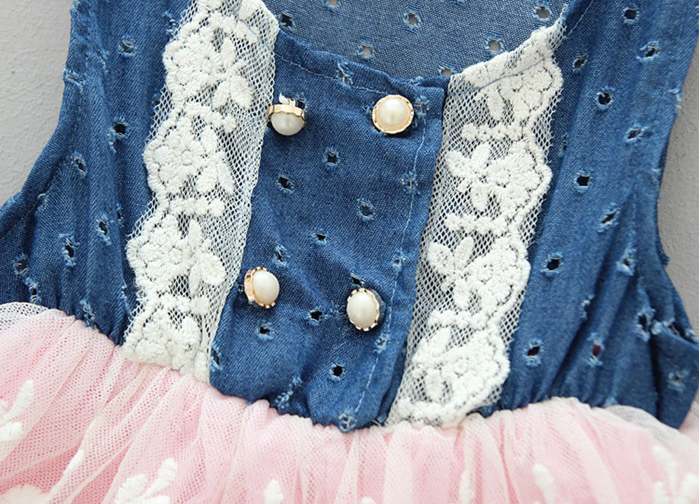 b3665a3c4c9 ... Child Kids Girls Casual Lace Dress Denim Splice Layered Tulle Vest  Party Dress Pageant Cowgirl Barn ...