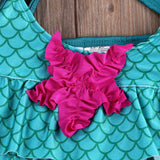 Baby Girls Mermaid Bikini Swimwear Swimsuit Bathing Suit Swimming Star Scale Clothes Set 2-7Y