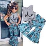 trendy girls outfits  toddler girls paris shirt  girls paris shirt  girls paris outfit with pants set  girls floral flared pants  girls floral bell bottoms  baby girl paris shirt