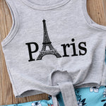 Baby and Toddler Girl Paris Shirt and Floral Flare Bell Bottom Pant Set Trendy