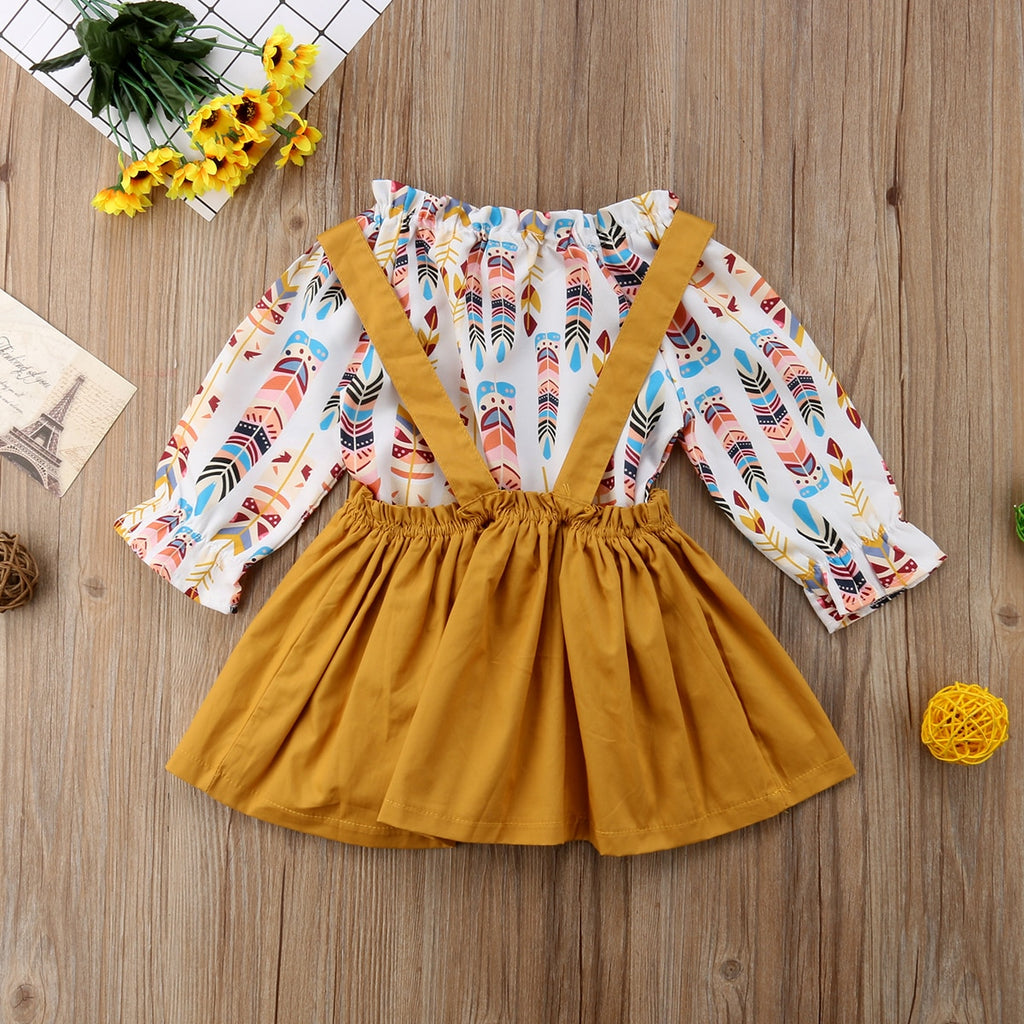 Infant Kids Baby Girls Romper Tops Suspender Skirt Dress Overalls Outfits Set Boho Mustard Arrows