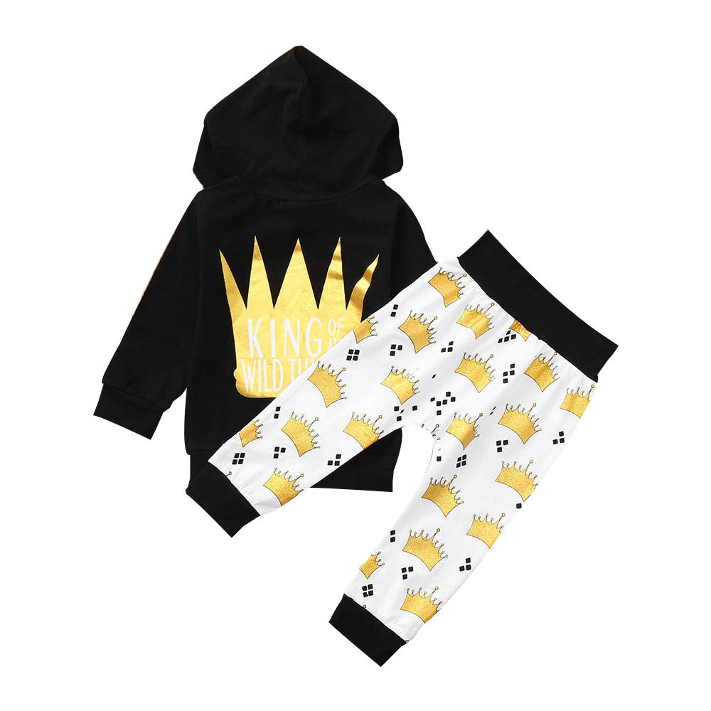 66000c4d Baby Boy King of the Wild Things Outfit Crown Letter Tops Hoodie Pants  Outfits 2Pcs Set Clothes Ropa de Bebe