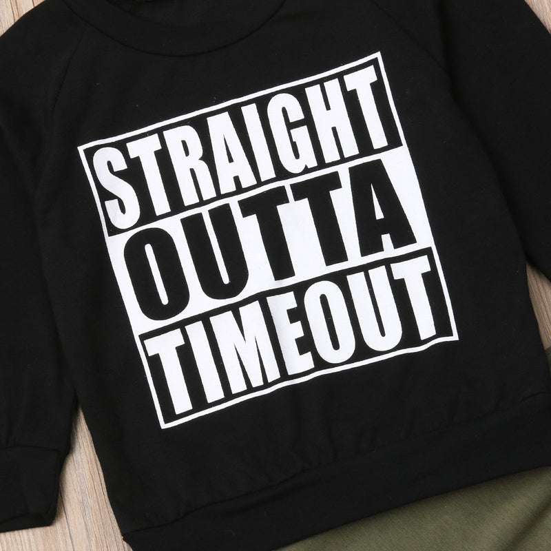 Baby Toddler Boy Straight Outta Timeout Sweatershirt and Pant Set Black and Olive