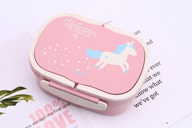 Unicorn Lunch Box for Kid Eco-Friendly Food Container Storage Bento Boxes 2 Layer Handle Girl