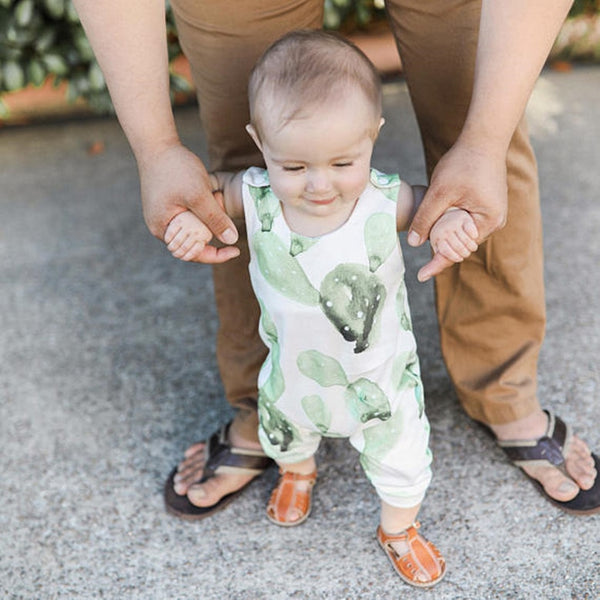 Cactus Baby Jumpsuit Unisex Baby Romper with watercolor print cactus sleeveless