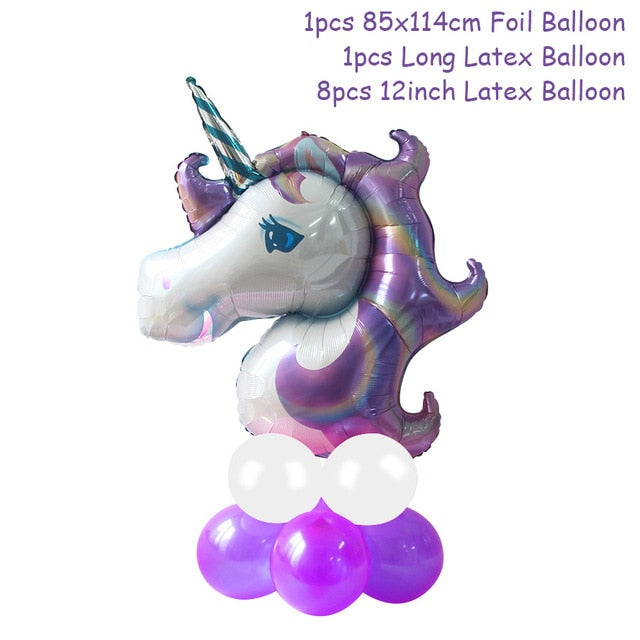 Unicorn Birthday Party Decorations Disposable Tableware Kit Unicorn Balloon Cups Plates Napkin Kids Birthday Unicornio Party Supplies