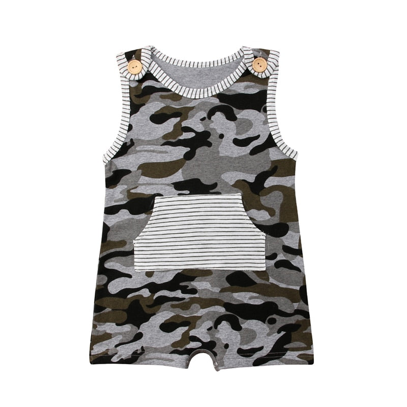 Toddler Baby Boy Camo Cotton Romper Jumpsuit  Summer Clothes baby boy summer cotton sleeveless Camo and Stripes