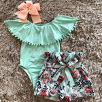 Summer baby girls clothing Toddler Baby Boys Girls Sleeveless Solid Tassels Ruffle Romper Floral bow knot Shorts Set Outfit