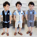 baby toddler boy suits for summer shorts wedding ring bearer linen suit vest bow tie