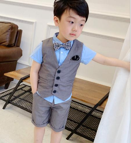 Summer Formal Boys Suits Blazers Clothes Suits For Wedding Formal Party Baby Vest Pants Kids Boy Outerwear Clothing Set