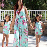 Mother Daughter Kids Maxi Dresses for Girls Romper Floral Mint Family Matching Clothes Set Outfits Summer Mommy and Me Beach Dress