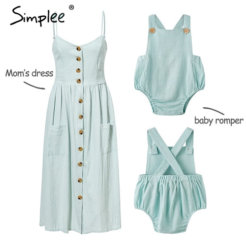 Mother and kids casual button dress Solid matching mom baby family clothes outfits beach dress Cute baby romper mom summer dress spaghetti strap wood buttons linen blue