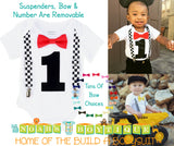 Race Car Birthday Shirt - Racecar First Birthay Bow Tie and Suspender Outfit - Racecar Checker Suspenders - Racecar Theme Birthday Party