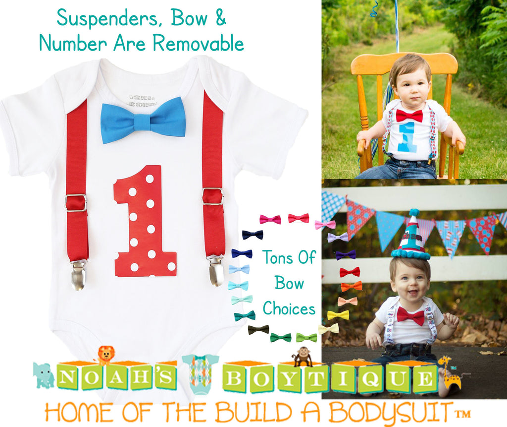First Birthday Blue and Red Outfit Boy Baby Boy Polka Dots