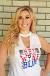 fourth of july tank women woman girls red wine and blue funny shirt mom