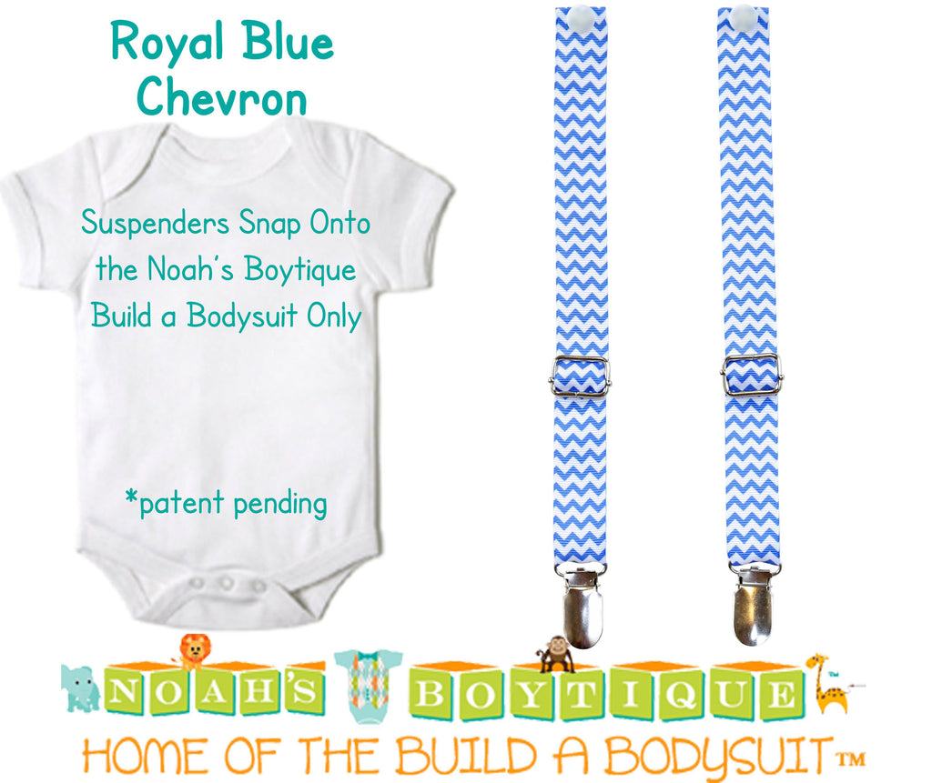 Royal Blue Chevron Noah's Boytique Bodysuit Suspenders - Snap On - Suspender Outfit - Baby Suspenders - Newborn Suspenders - Interchangeable - Noah's Boytique Suspenders - Baby Boy First Birthday Outfit