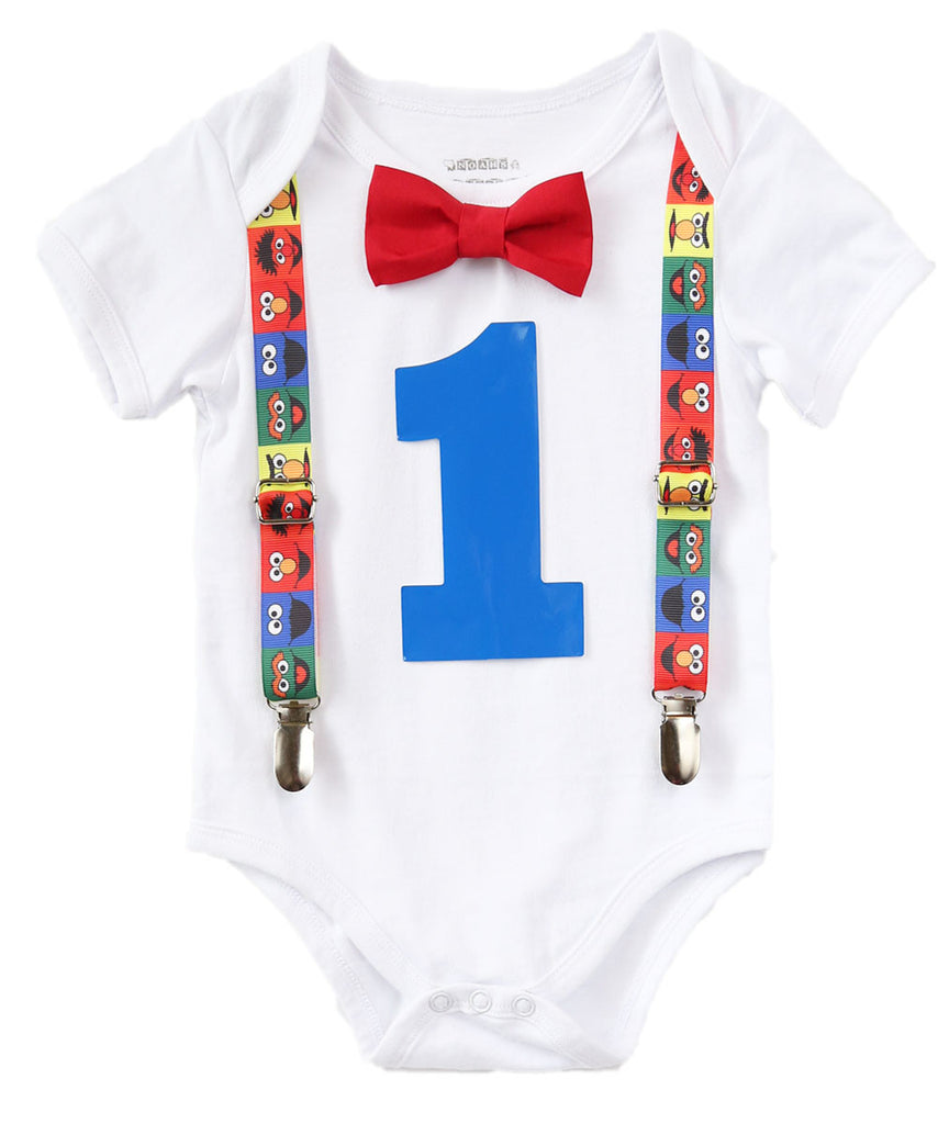 Sesame Street First Birthday Outfit Baby Boy Elmo Cookie