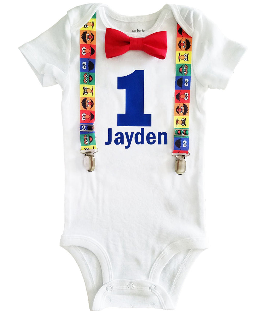 sesame street first birthday outfit boy - baby boy elmo party - sesame street birthday outfit - boys first birthday outfit - 1st birthday sesame street shirt onesie personalized with name
