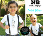 Toddler Boy Clothes - Trendy Black and White Hello - Outfits for Brothers Siblings - Hipster - Big Brother Little Brother Tie and Suspenders - Twin Boy Clothes Onesies Noah's Boytique Tie Onesie
