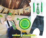 Baby Boy St Patricks Day Outfit - Shamrock Tie - Newborn St Patricks Clothes - First St. Patrick's Day Shirt - Parade - Pageant - Green Pant - Noah's Boytique