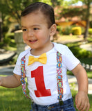 Superhero Birthday Shirt - First Birthday - Second Birthday - Comic Book - Superhero First Birthday - Bow Tie and Suspenders Themes for Boys