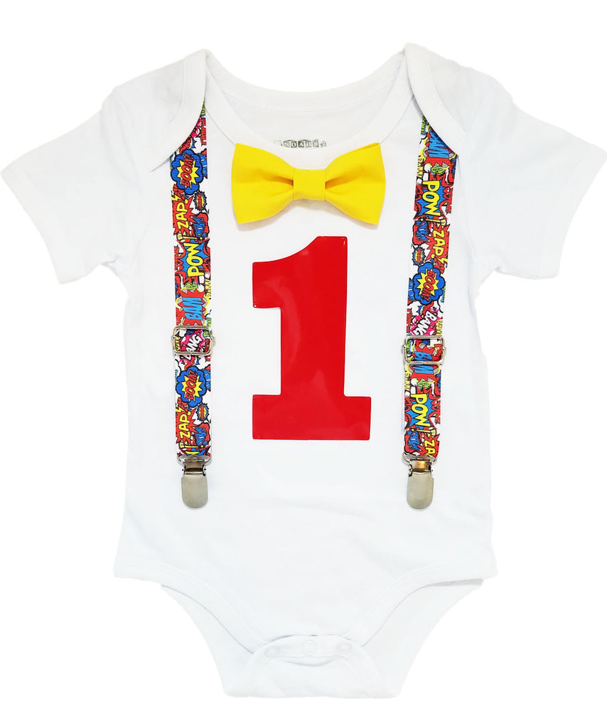 superhero first birthday outfit comic book super hero onesie blue yellow red cake smash noah's boytique