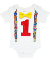 comic book superhero first birthday outfit boy