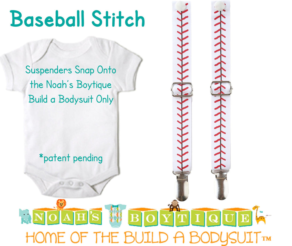 Baseball Stitch Noah's Boytique Bodysuit Suspenders - Snap on Suspenders - Suspender Outfit - Baby Suspenders - Baseball Party - Baseball - Noah's Boytique Suspenders - Baby Boy First Birthday Outfit