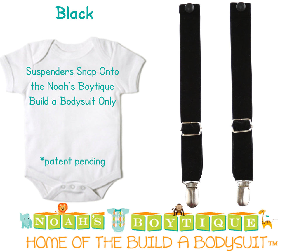 Black Noah's Boytique Bodysuit Suspenders - Snap On - Suspender Outfit - Baby Suspenders - Newborn Suspenders - Interchangeable - Noah's Boytique Suspenders - Baby Boy First Birthday Outfit