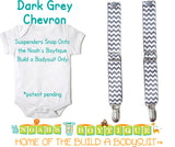 Dark Grey Gray Chevron Noah's Boytique Bodysuit Suspenders - Snap on Suspenders - Suspender Outfit - Baby Suspenders - Newborn Suspender - Noah's Boytique Suspenders - Baby Boy First Birthday Outfit