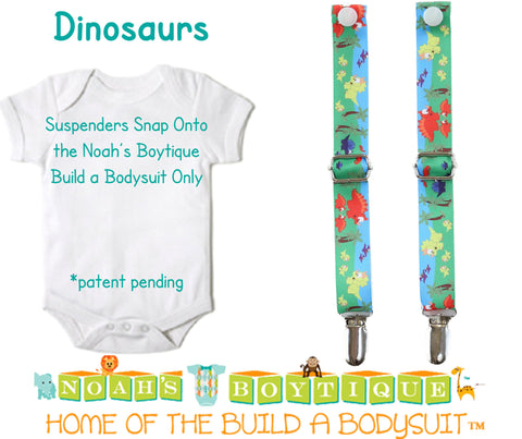 Bright Blue Noah's Boytique Bodysuit Suspenders - Snap On - Suspender Outfit - Baby Suspenders - Newborn Suspenders - Interchangeable