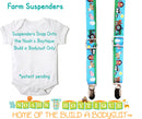 Farm Theme Noah's Boytique Bodysuit Suspenders - Snap on Suspenders - Suspender Outfit - Baby Suspenders - Newborn Suspender - Farm Animal Barn Party