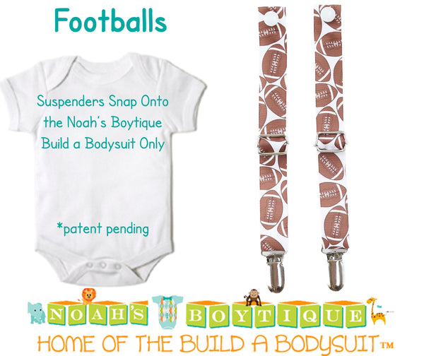 Football Noah's Boytique Bodysuit Suspenders - Snap on Suspenders - Suspender Outfit - Baby Suspenders - Football - Football Party - Shirt