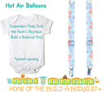 Hot Air Balloon Noah's Boytique Bodysuit Suspenders for Baby Boys