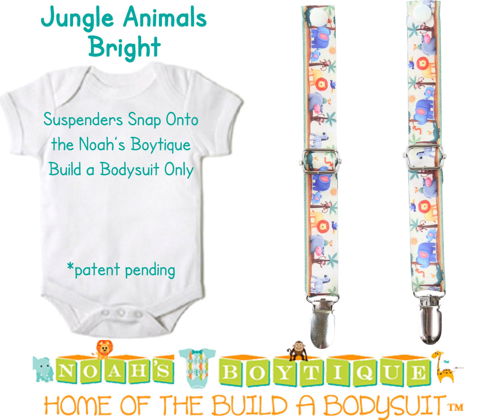 Jungle Animals Bright Noah's Boytique Bodysuit Suspenders - Snap On - Suspender Outfit - Baby Suspenders - Newborn - Interchangeable - Noah's Boytique Suspenders - Baby Boy First Birthday Outfit