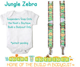 Jungle Zebra Noah's Boytique Bodysuit Suspenders - Snap on Suspenders - Suspender Outfit - Baby Suspenders - Safari - Zoo - Monkey - Lion