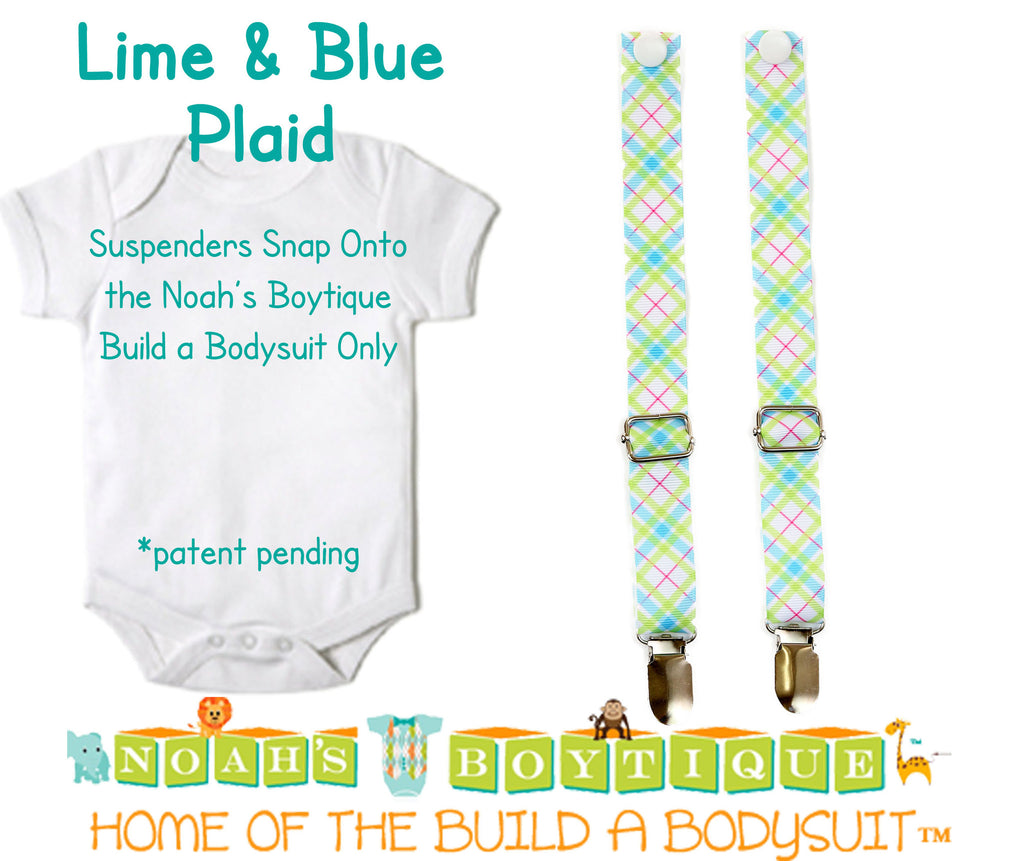 Lime and Blue Plaid Noah's Boytique Bodysuit Suspenders - Snap on Suspenders - Suspender Outfit - Baby Suspenders -Aqua - Noah's Boytique Suspenders - Baby Boy First Birthday Outfit