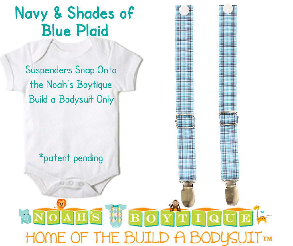 Navy & Shades of Blue Plaid Noah's Boytique Bodysuit Suspenders - Snap on Suspenders - Suspender Outfit - Baby Suspenders - Navy - Aqua - Noah's Boytique Suspenders - Baby Boy First Birthday Outfit