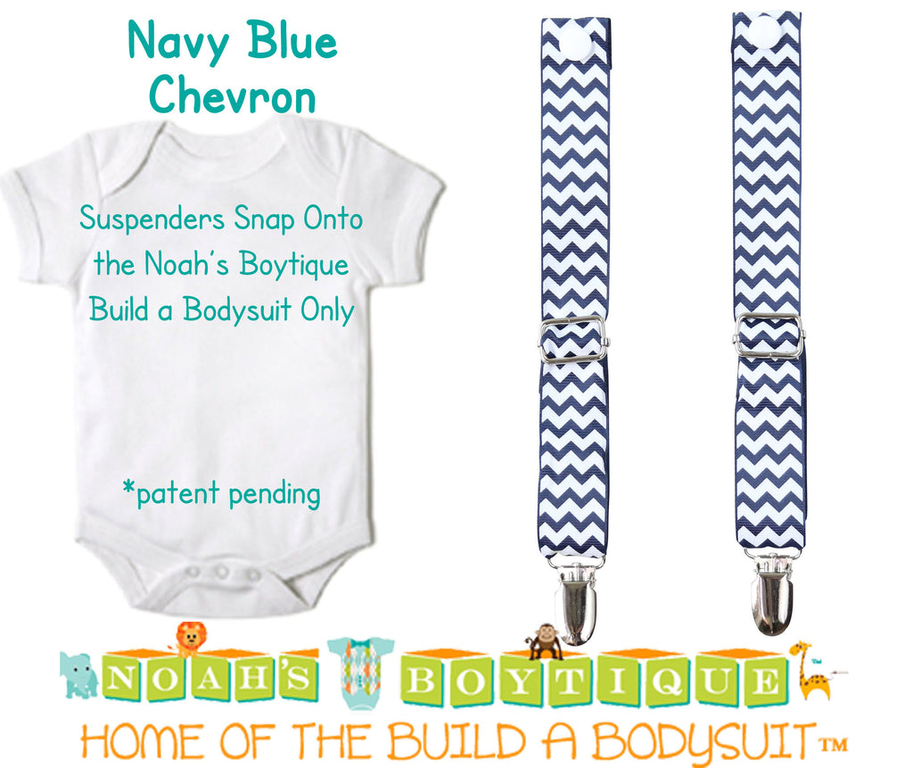 Navy Blue Chevron Noah's Boytique Bodysuit Suspenders - Snap on Suspenders - Suspender Outfit - Baby Suspenders - Newborn Suspender - Noah's Boytique Suspenders - Baby Boy First Birthday Outfit