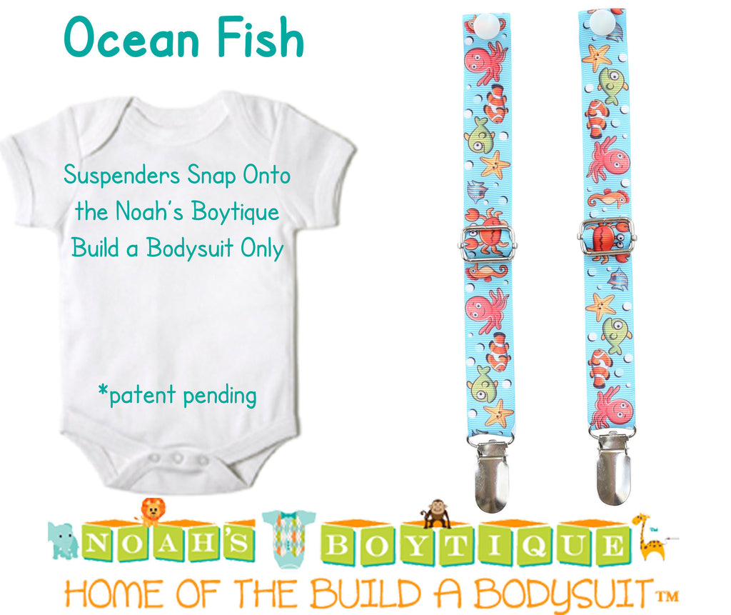 Fish Fishing First Birthday Outfit - Sharks Whales Ocean - 1st Birthday Clothes - First Birthday Shirt -1st Birthday - Under the Sea - Baby Suspenders