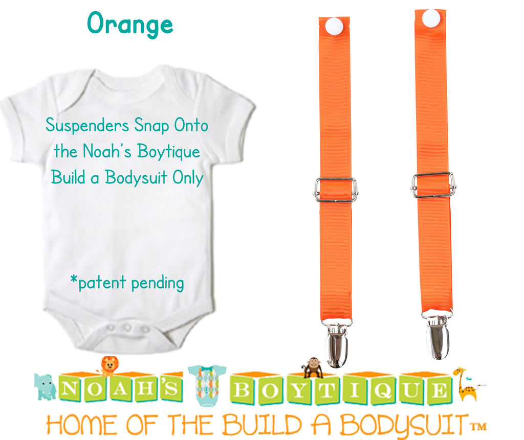 Orange Noah's Boytique Bodysuit Suspenders - Snap On - Suspender Outfit - Baby Suspenders - Newborn - Interchangeable