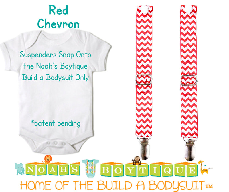 Red Chevron Noah's Boytique Bodysuit Suspenders - Snap On - Suspender Outfit - Baby Suspenders - Newborn Suspenders - Interchangeable - Noah's Boytique Suspenders - Baby Boy First Birthday Outfit