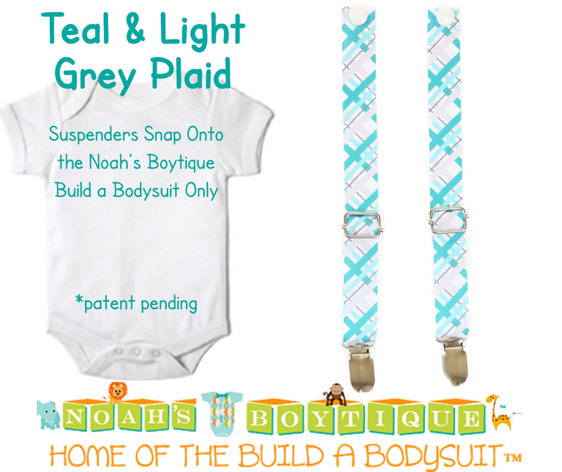 Teal and Light Grey Plaid Noah's Boytique Bodysuit Suspenders - Snap on Suspenders - Suspender Outfit - Baby Suspenders - Noah's Boytique Suspenders - Baby Boy First Birthday Outfit