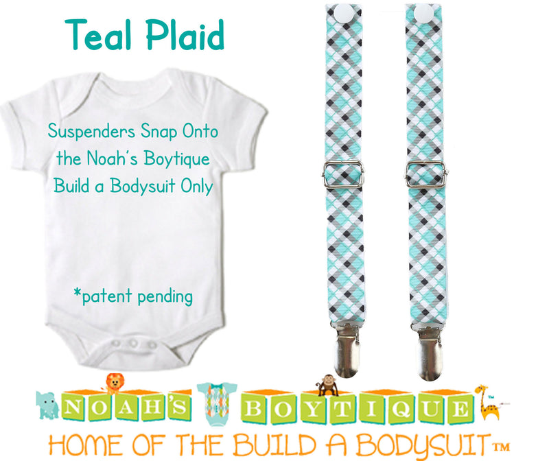 Teal Plaid Noah's Boytique Bodysuit Suspenders - Snap on Suspenders - Suspender Outfit - Baby Suspenders - Plaid - Teal - Grey - Black