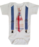 Baby Boy Outfits for Spring - Summer Baby Boy Clothes - Plaid - Preppy - Tie and Suspender Outfit - Blue - Burgundy - Tan - Cape Cod - Boat - Noah's Boytique - Noahs Boytique