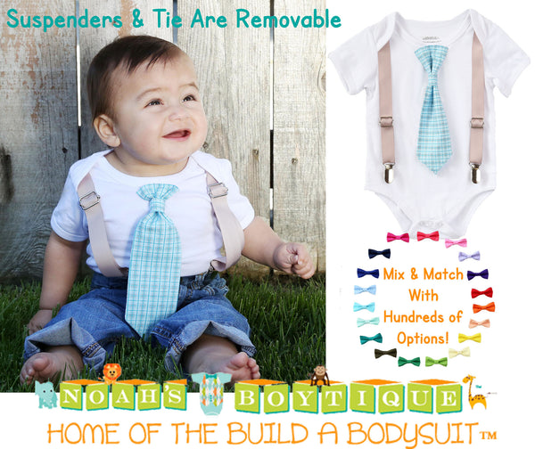 Baby Boy Suspender Outfit - Light Blue Plaid Tie - Tan Suspenders - Baby Boy Clothes - Toddler - Tie Outfit - Baby Ties - Spring - Wedding - Noah's Boytique - Noahs Boytique