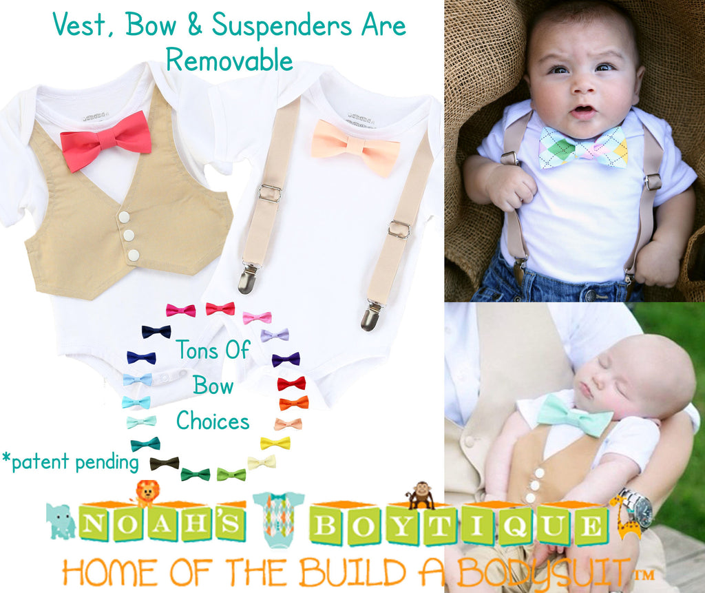Baby Boy Wedding Outfit - Tan Mint Coral - Infant - Wedding - Baby Boy Clothes - Baby Outfit - Newborn Tuxedo - Tan Suit - Peach - Bow Tie - Noah's Boytique Bodysuit - Baby Boy First Birthday Outfit